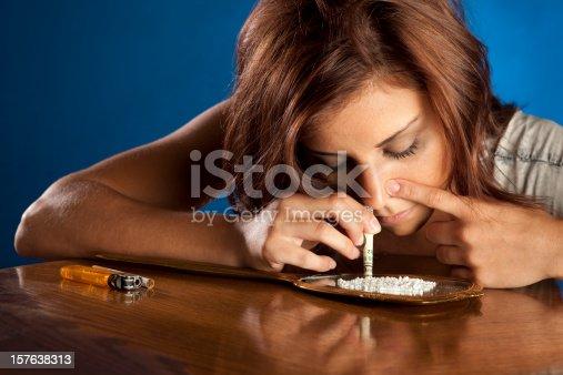 Drug Addict Girl Snorting Cocaine