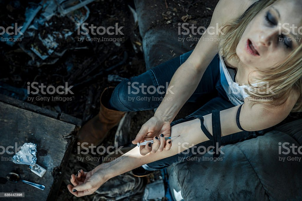 Drug addict stock photo
