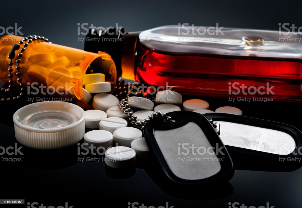 Drug addiction and alcohol abuse by military personnel and vets stock photo