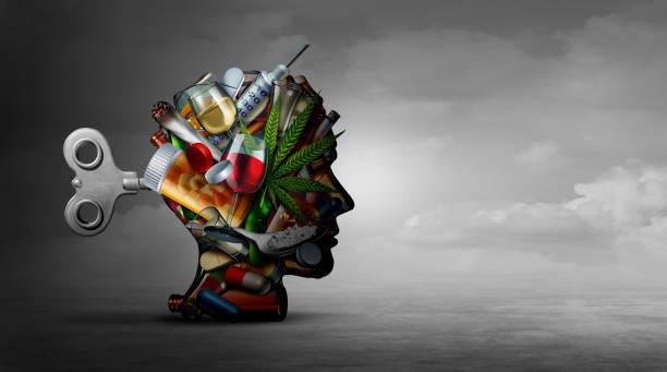 tossicodipendenza e funzione mentale - assuefazione foto e immagini stock