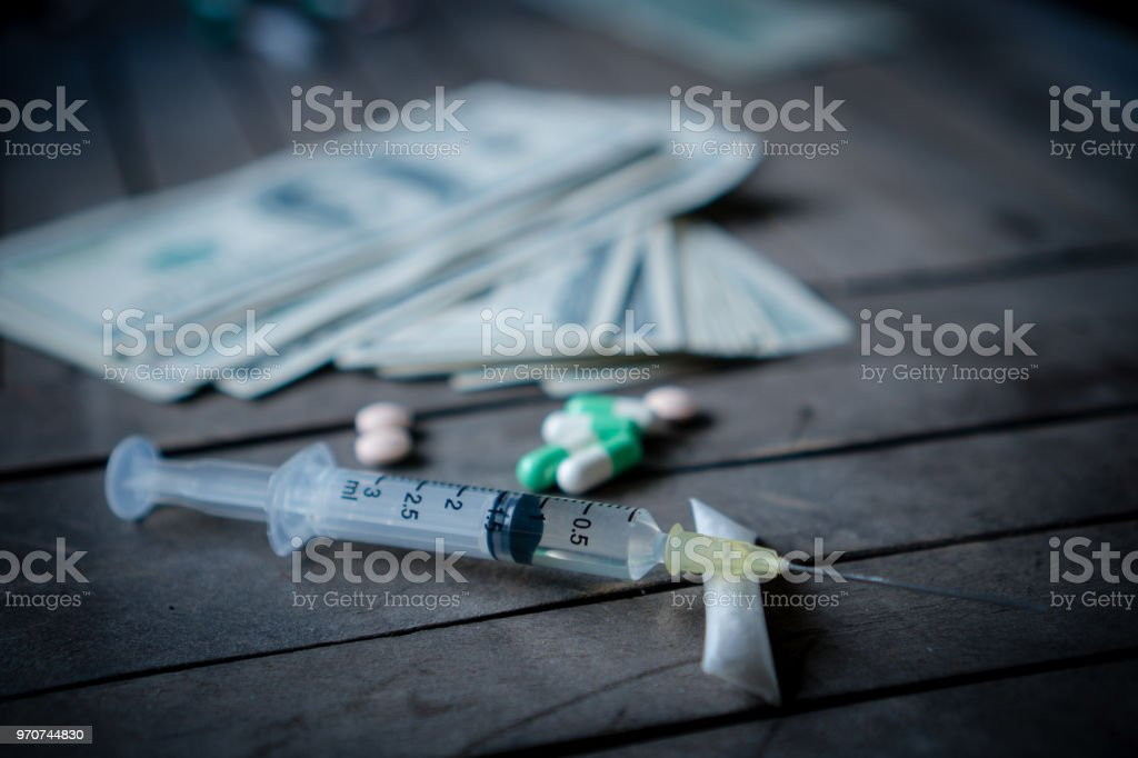 Drug Addiction Cocaine Heroin Syringesselected Focus Stock