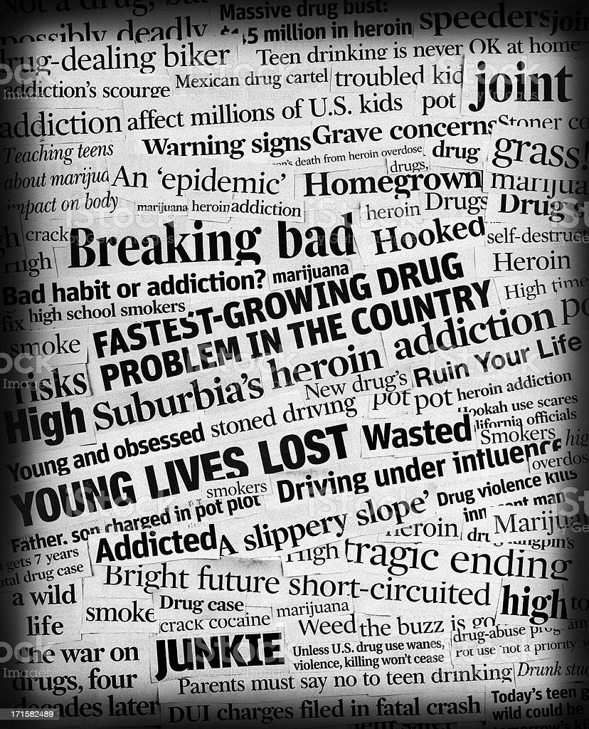 drug addiction headline collage stock photo