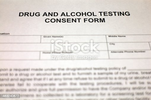 Drug And Alcohol Testing Agreement Document Stock Photo More