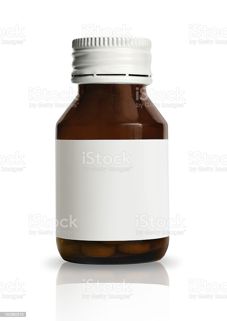 Drug bottle with blank label stock photo