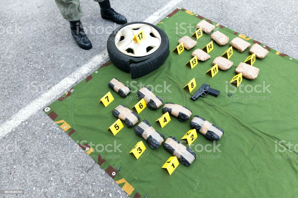 Drug evidence seized during the police raid royalty-free stock photo