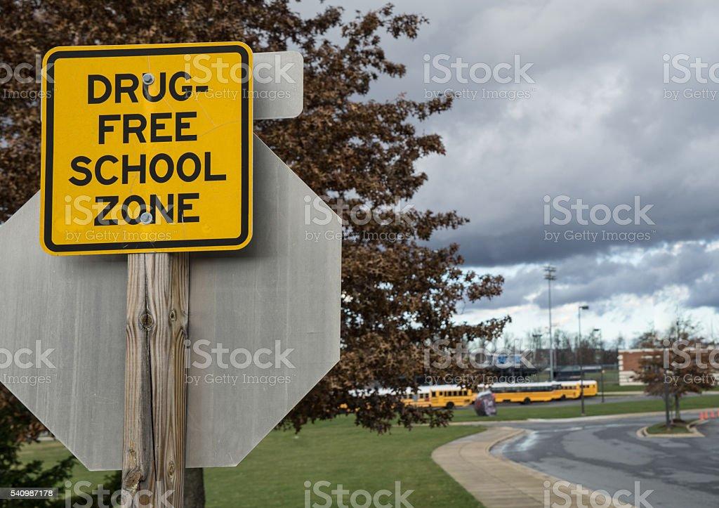 Drug free sign near high school stock photo