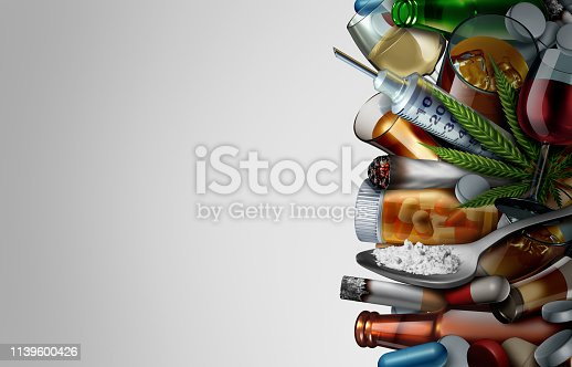 Drug issues and addiction background concept or substance dependence as an addict health problem with cocaine heroin cannabis alcohol and prescription pills with 3D illustration elements.