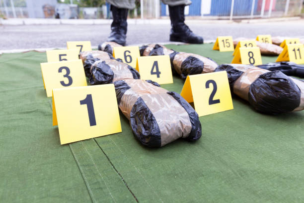 Drug seized during the police raid Police officer standing guard over seized packages of drug cocaine stock pictures, royalty-free photos & images