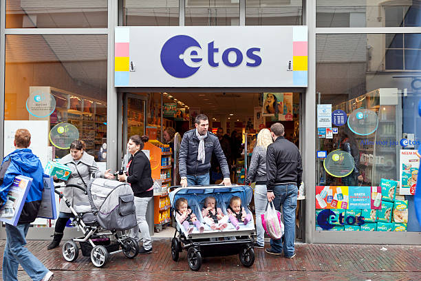 etos drug store - triplets stock photos and pictures