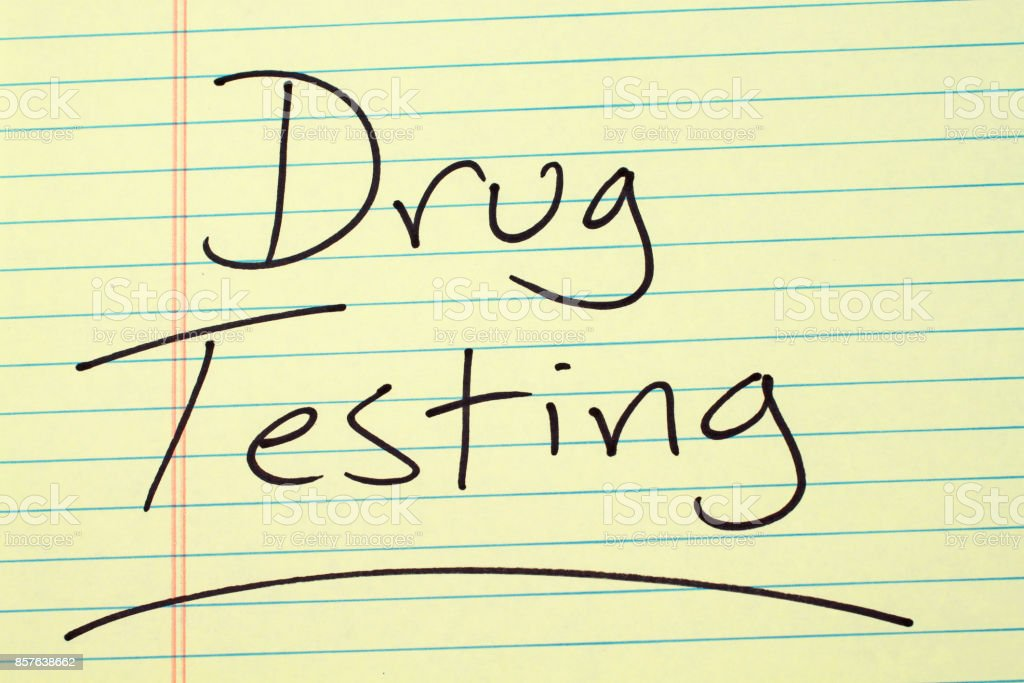 Drug Testing On A Yellow Legal Pad stock photo