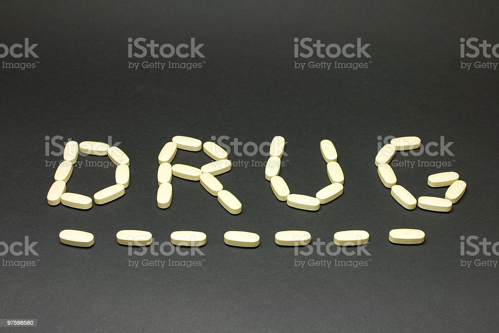 Drug underlined on black royalty-free stock photo