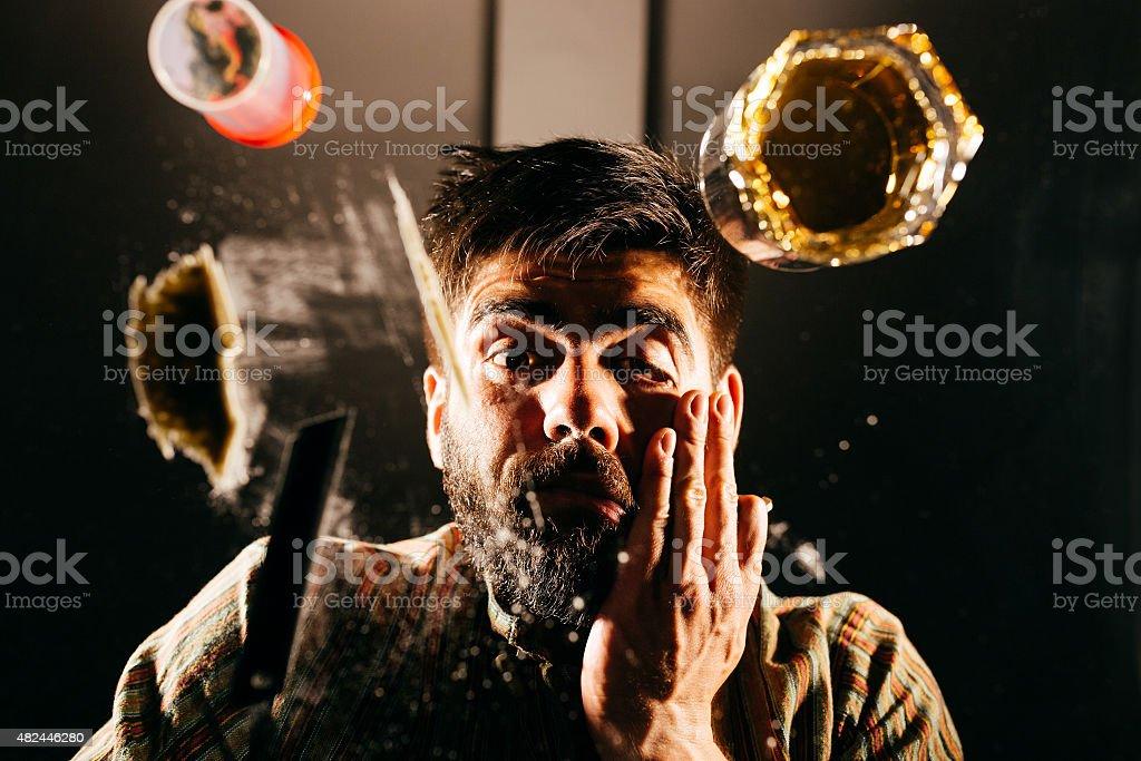 Drugged man stock photo