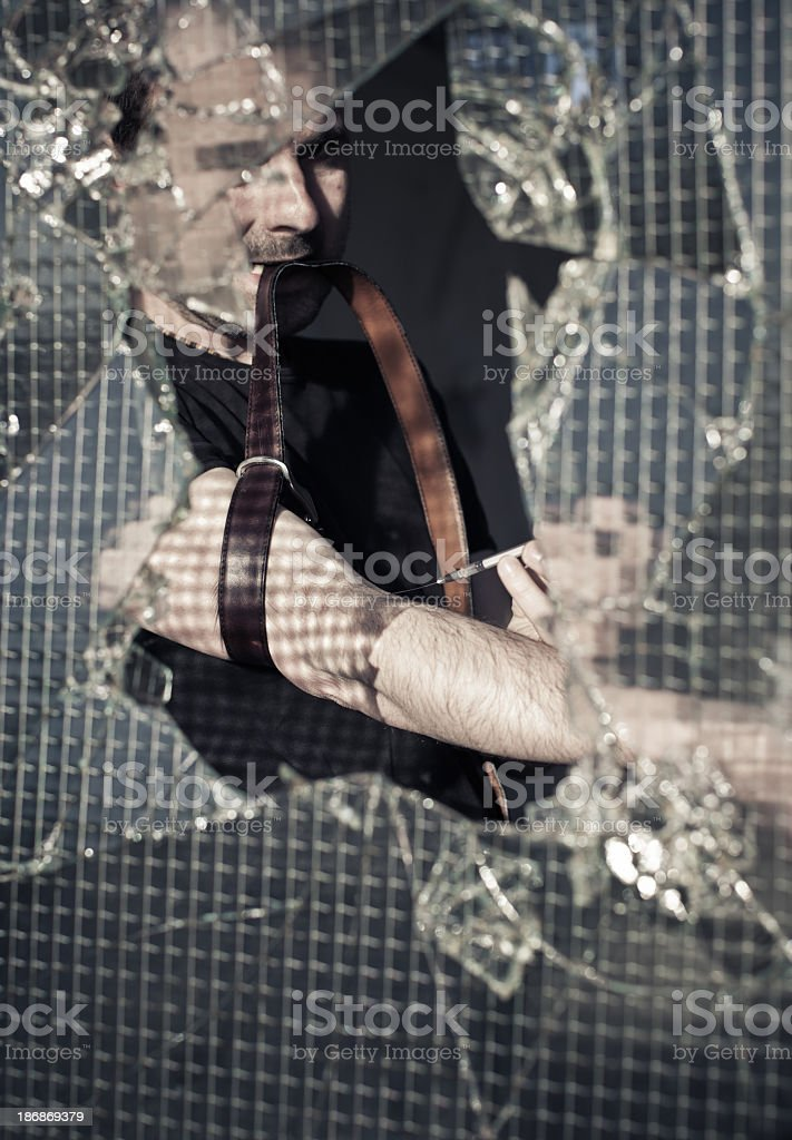 Drugs addiction man royalty-free stock photo