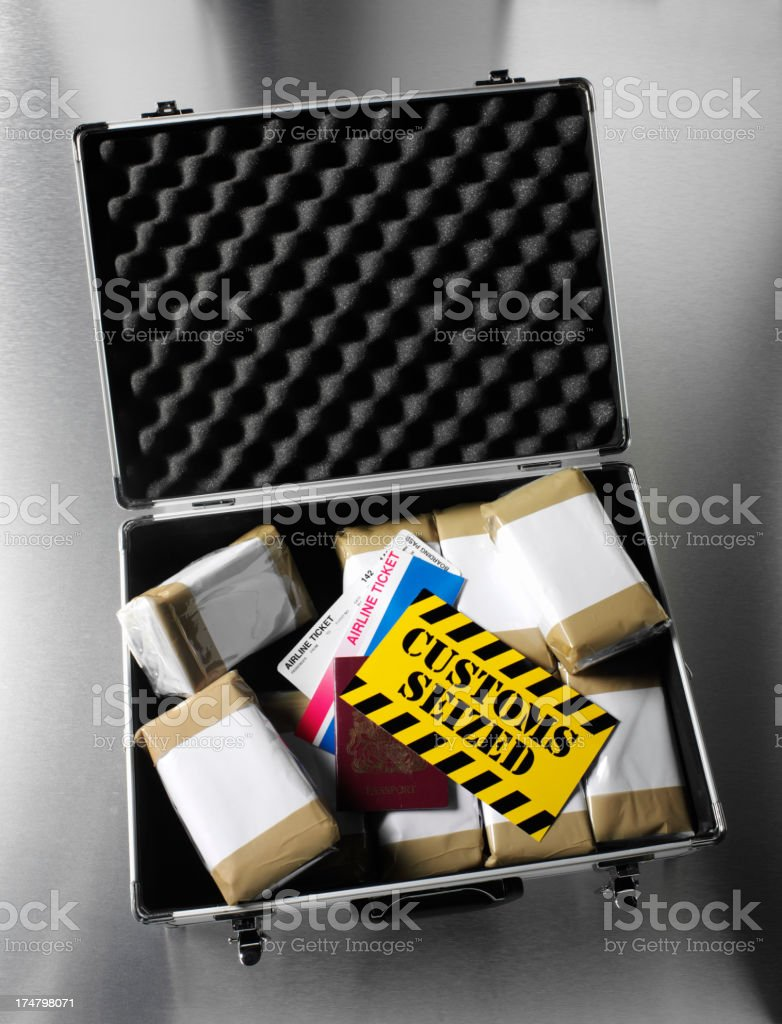 Drugs and Airline Ticket with a Passport royalty-free stock photo