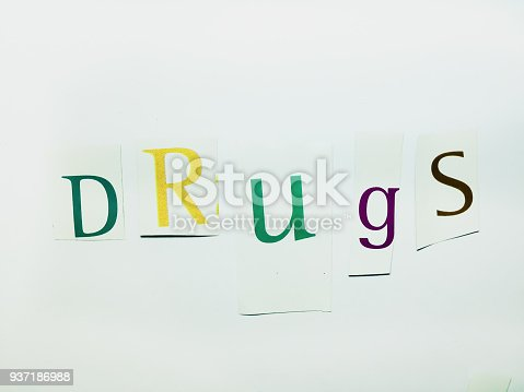 812461124 istock photo Drugs - Cutout Words Collage Of Mixed Magazine Letters with White Background 937186988