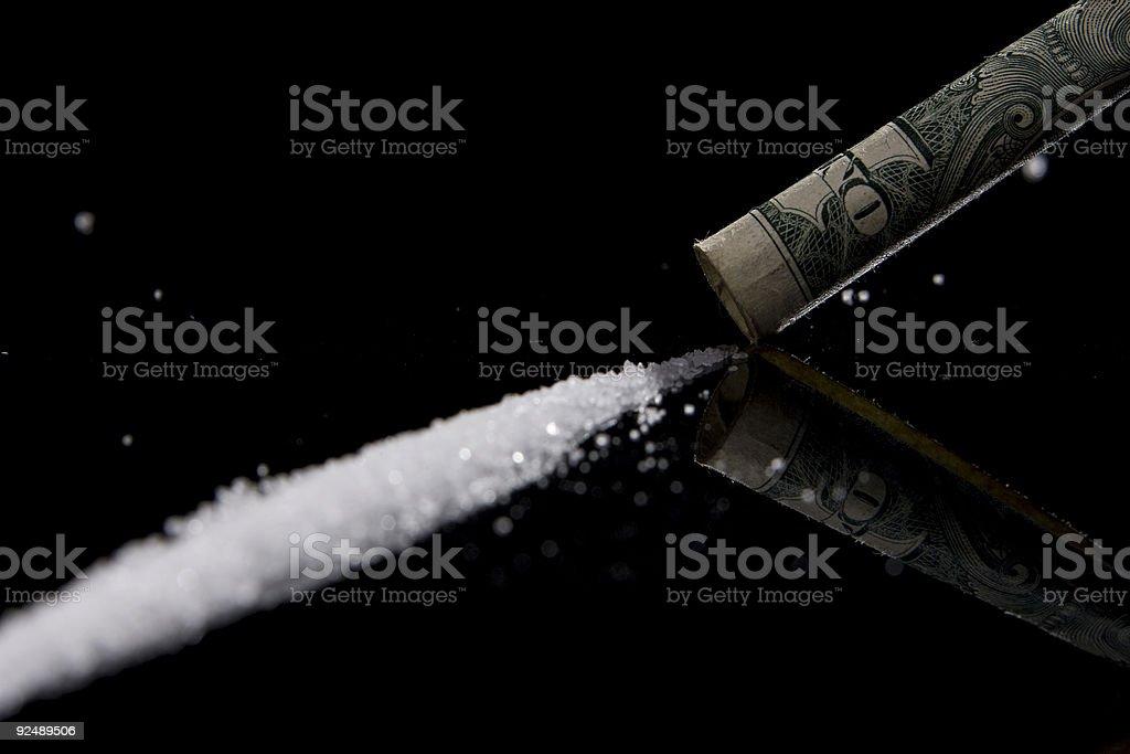 Drogen in Pastell-form mit einer ein-dollar-Schein – Foto