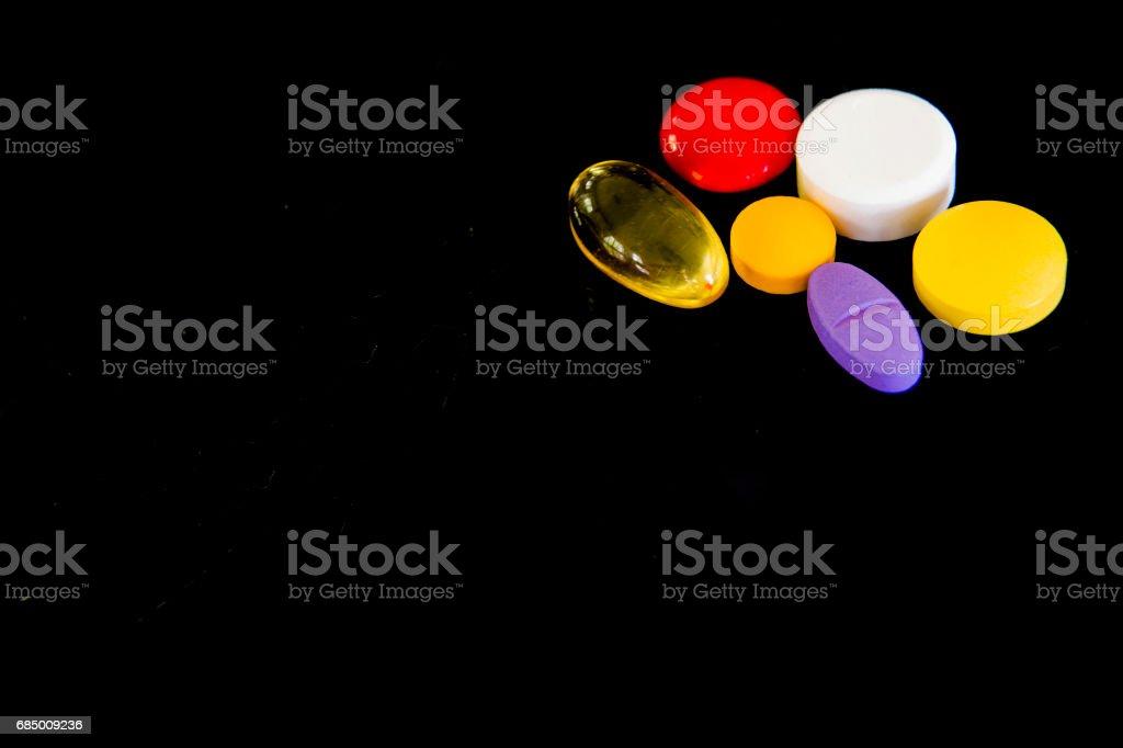 Drugs on black background. Lizenzfreies stock-foto