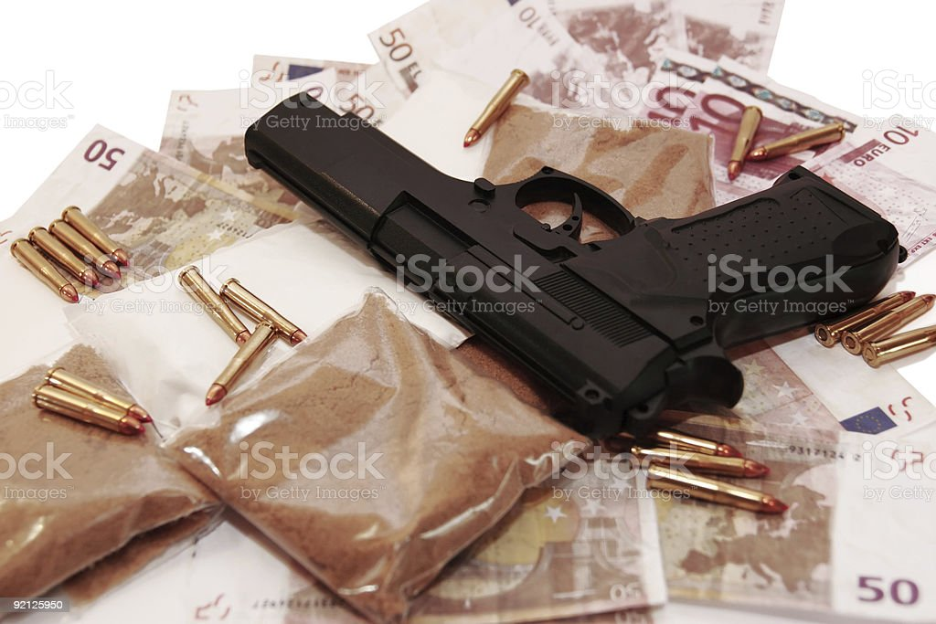 drugs vice gun and money royalty-free stock photo