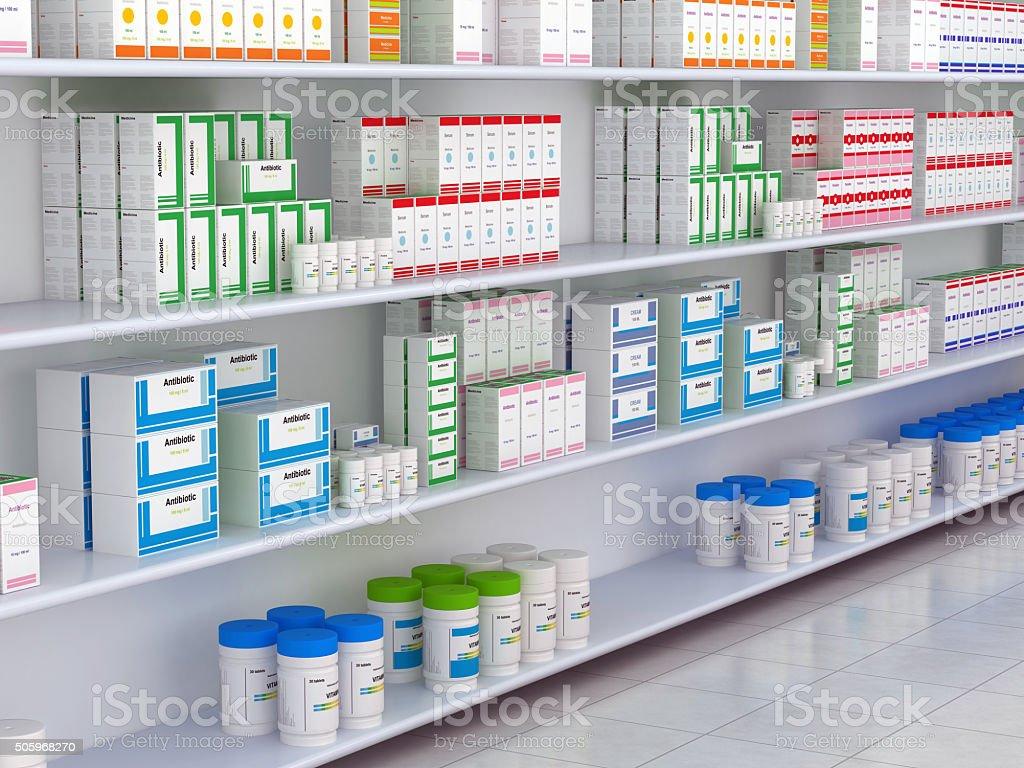 Drugstore Shelf stock photo