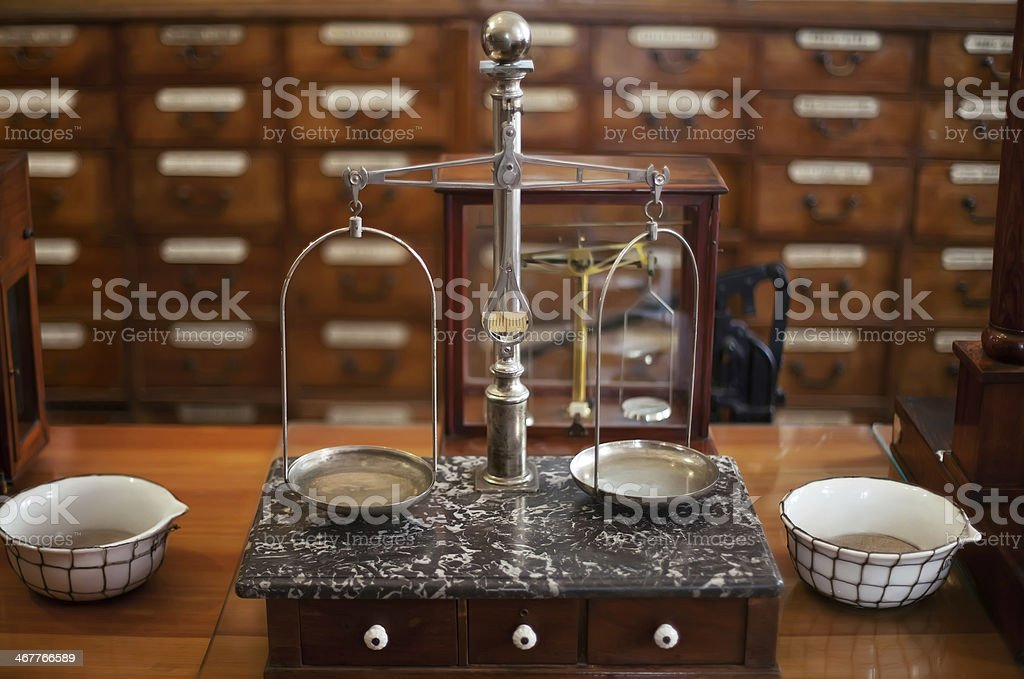 drugstore weighing scales stock photo