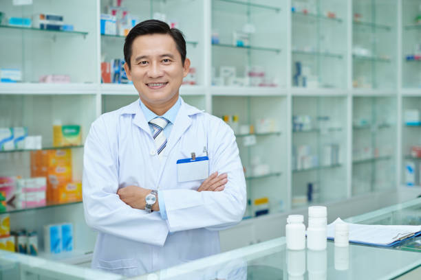 Drugstore worker stock photo