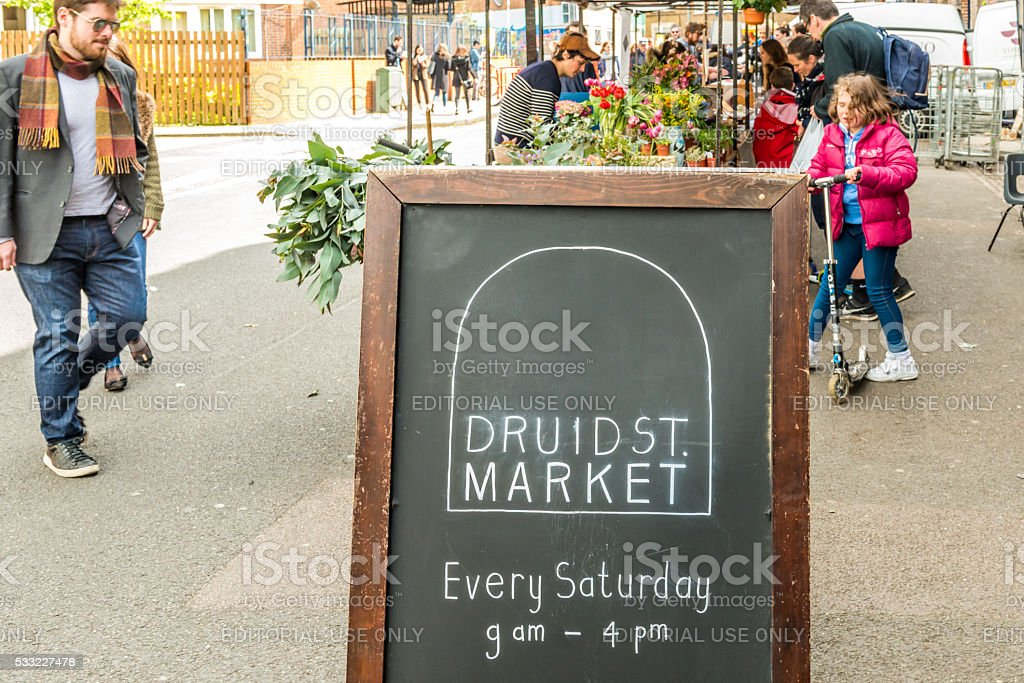 Druid Street market in Bermondsey stock photo