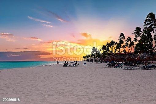 istock Druif beach at sunset on Aruba island in the Caribbean sea 700566518
