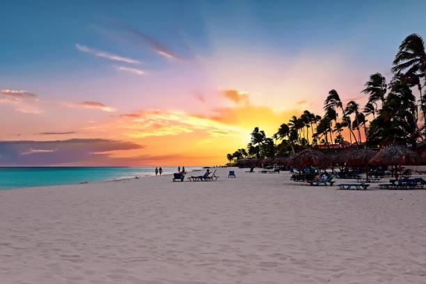 druif beach bij zonsondergang op aruba island in de caribische zee - aruba stockfoto's en -beelden