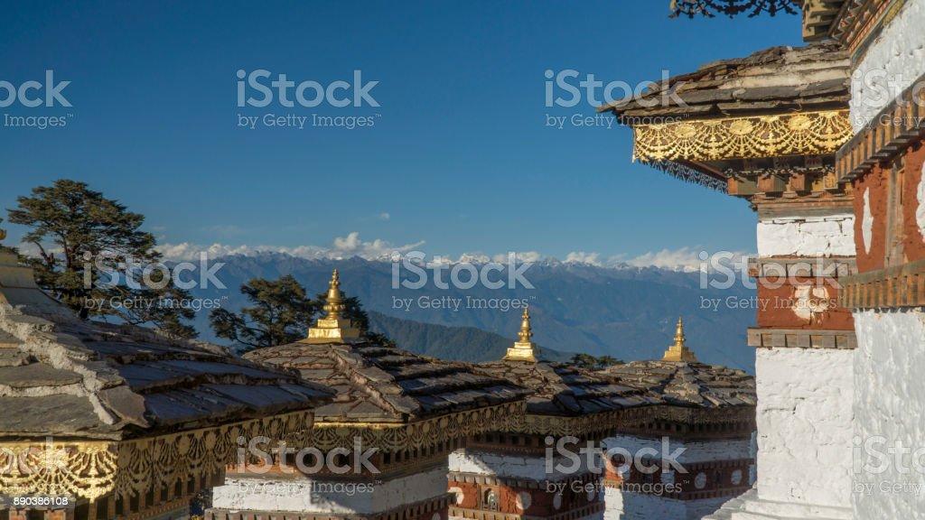 Druk Wangyal Chörten am Dochula Pass. Königreich Bhutan – Foto
