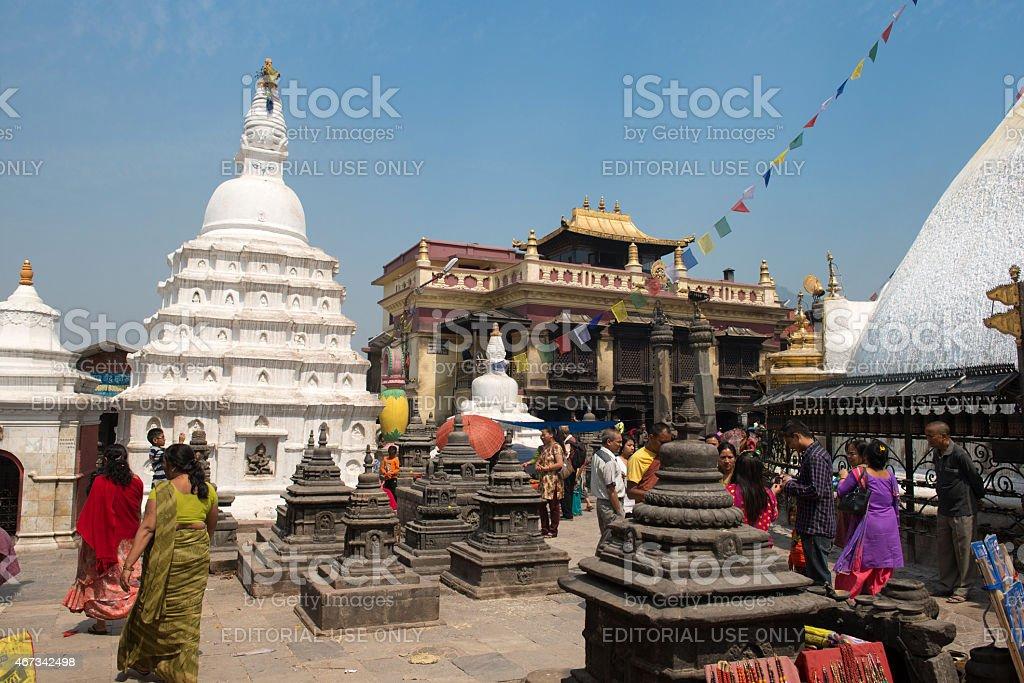 Drukpa Kagui Monastery in Swayambhunath religious complex in Kathmandu stock photo