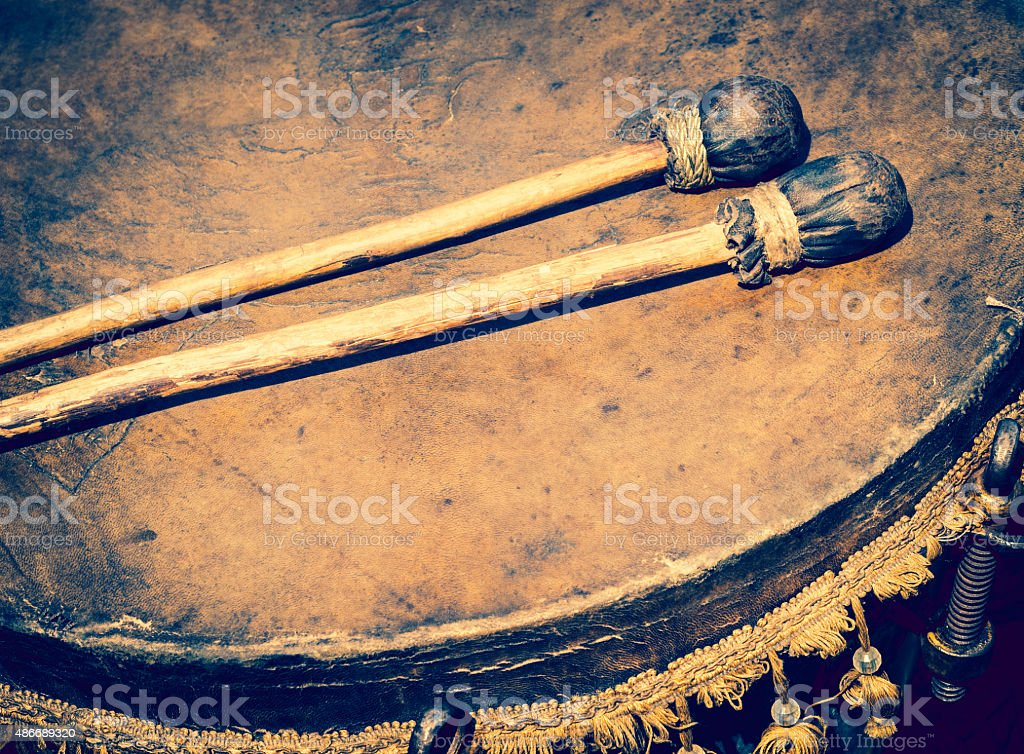 drum and drumsticks stock photo
