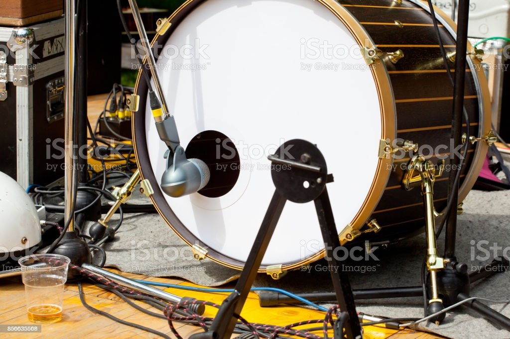 Drum and microphone stock photo