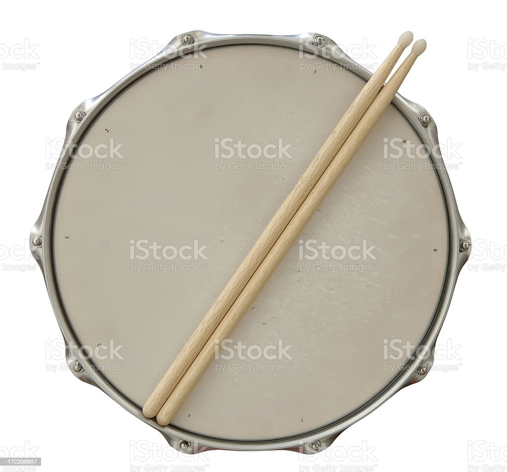 Drum and Sticks with Path stock photo