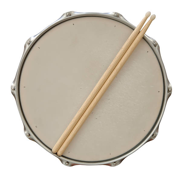 Drum and Sticks with Path Snare Drum and Drum Sticks with Clipping Path Included. drum percussion instrument stock pictures, royalty-free photos & images