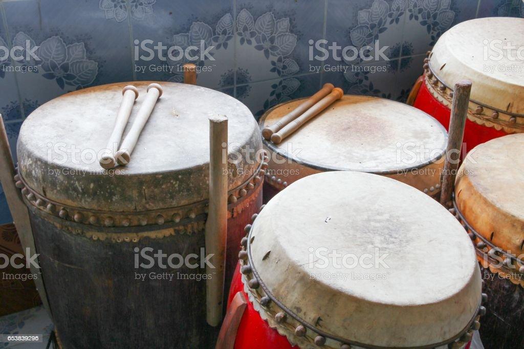 Drum big selective focus, ancient temple in Thailand stock photo
