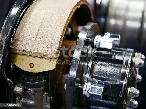 istock Drum brake and asbestos brake 1075804970