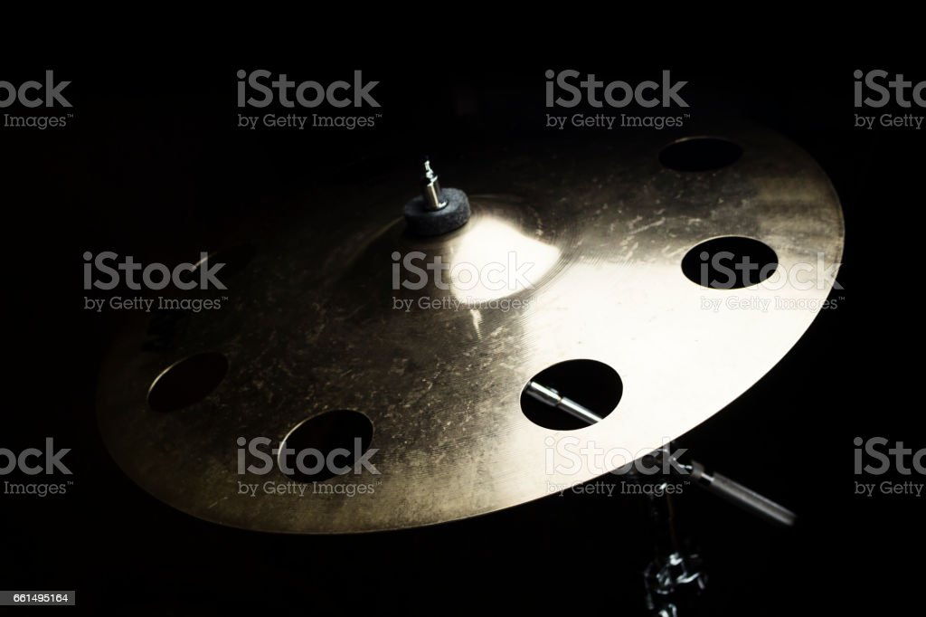 Drum Cymbal Close up Isolated On Black Background stock photo