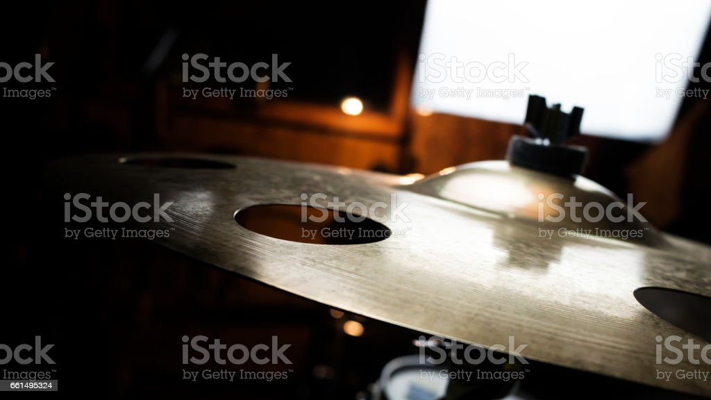 Drum Cymbal In Music Studio Close Up stock photo