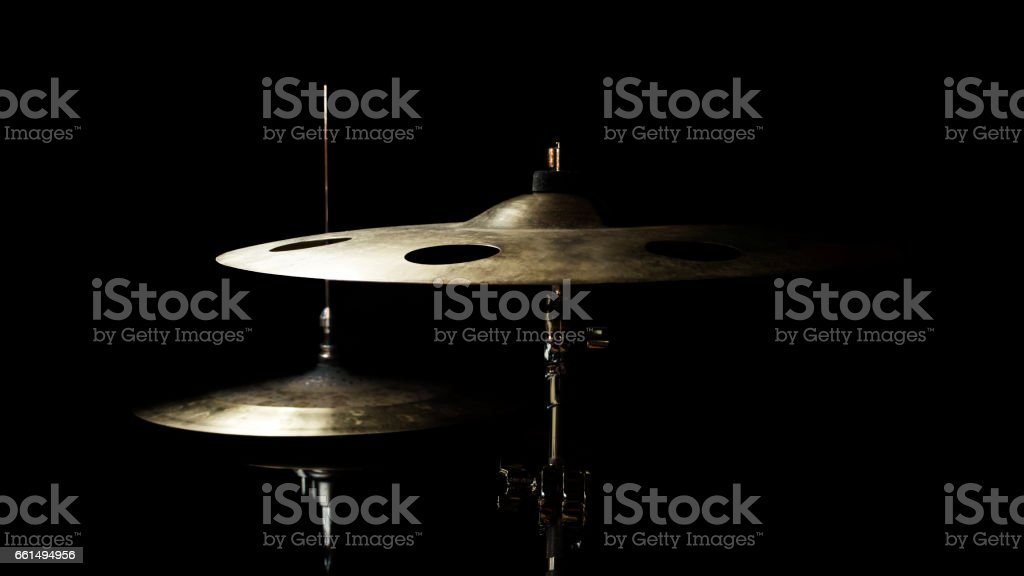 Drum High Hat and Cymbal Close up Isolated On Black Background stock photo