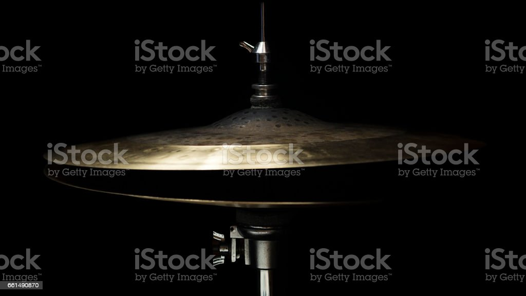 Drum High Hat Close up Isolated On Black Background stock photo