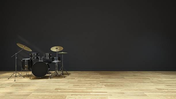 tambours dans la salle de musique-design intérieur – représentation en 3d - batterie musique photos et images de collection