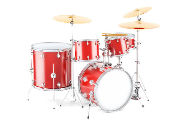 Drum kit, 3D rendering isolated on white background Drum kit, 3D rendering isolated on white background drum kit stock pictures, royalty-free photos & images