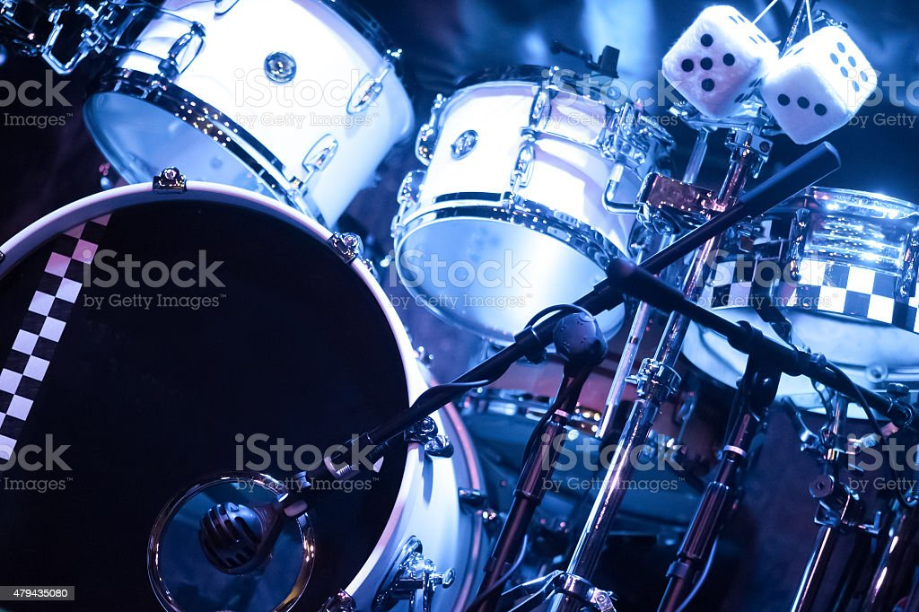 drum kit on stage stock photo