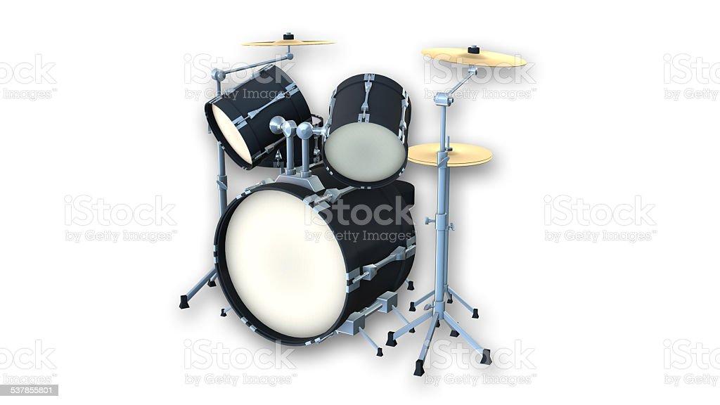 Drum kit on white background stock photo
