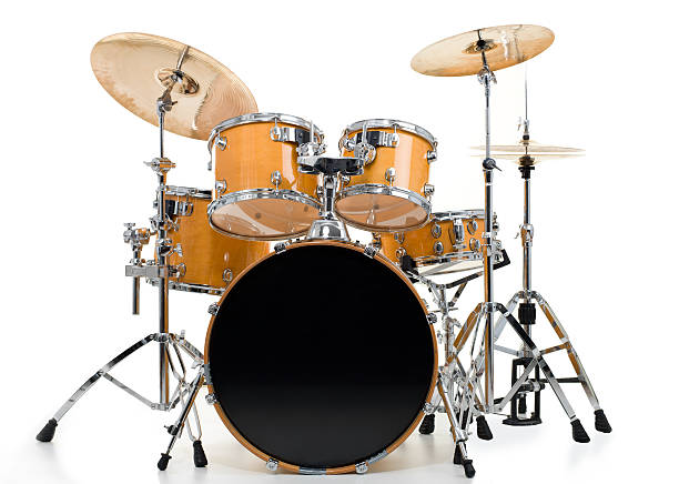 Drum Kit Set of yellow drums isolated on white background. drum kit stock pictures, royalty-free photos & images