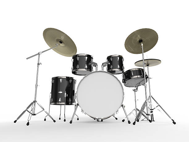 Drum Kit Drum Kit isolated on white background. 3D render drum kit stock pictures, royalty-free photos & images