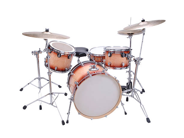 Drum Kit with path Four piece drum kit with clipping path. drum kit stock pictures, royalty-free photos & images