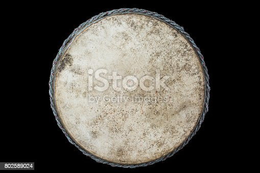 istock Drum leather isolated on black background 802589024
