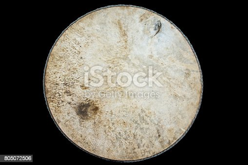 istock Drum leather isolated on black background 805072506
