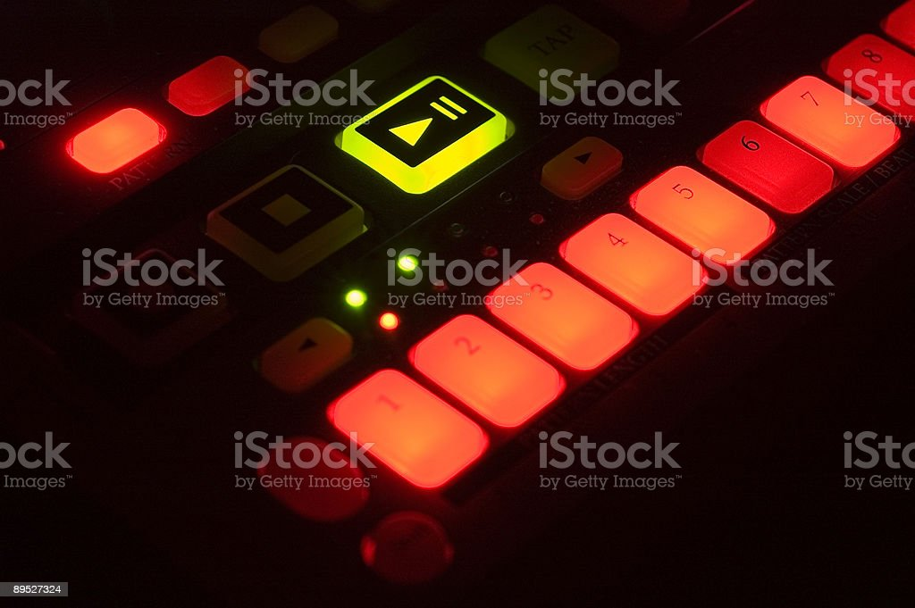 Drum Machine with Lighted Buttons stock photo